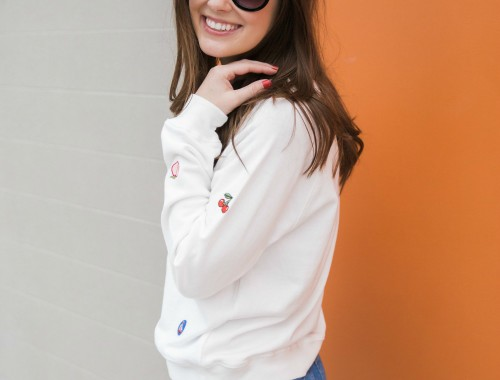 a little character, patch sweatshirt, flared cropped jeans