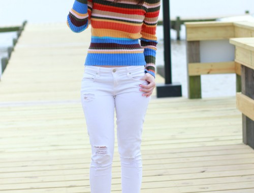 rainbow sweater-spring and summer outfit perfect for a day at the lake | BNBstyling.com