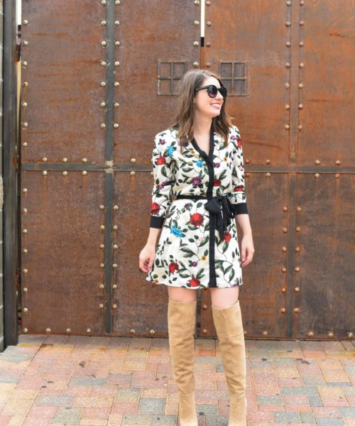 Alice and Olivia printed dress and Joie Knee High Boots