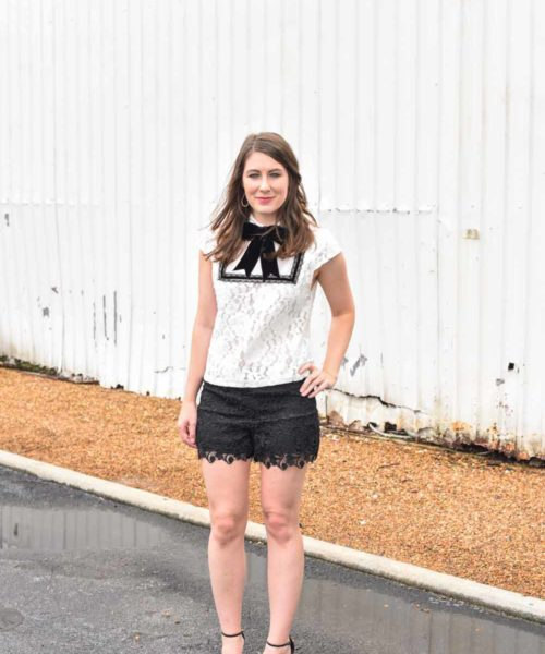 black and white lace look