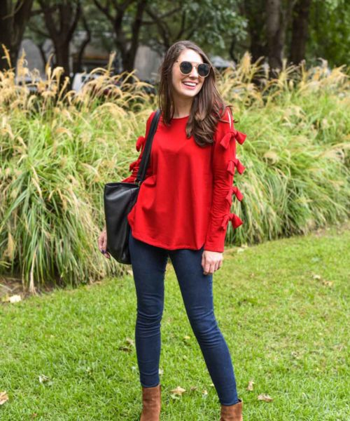 red bow sweater